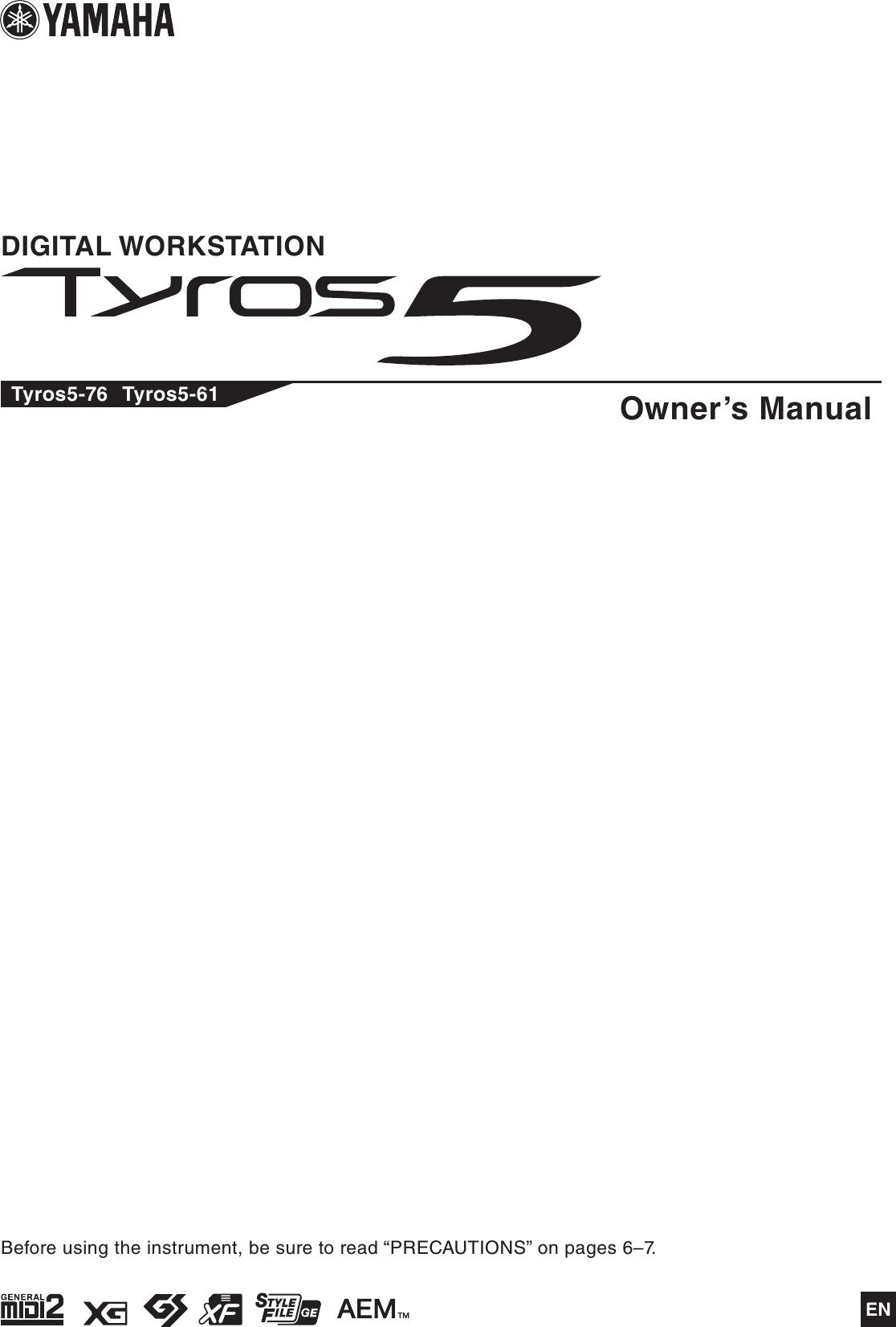 Yamaha Tyros5 Owner's Manual Owner's En Om A0