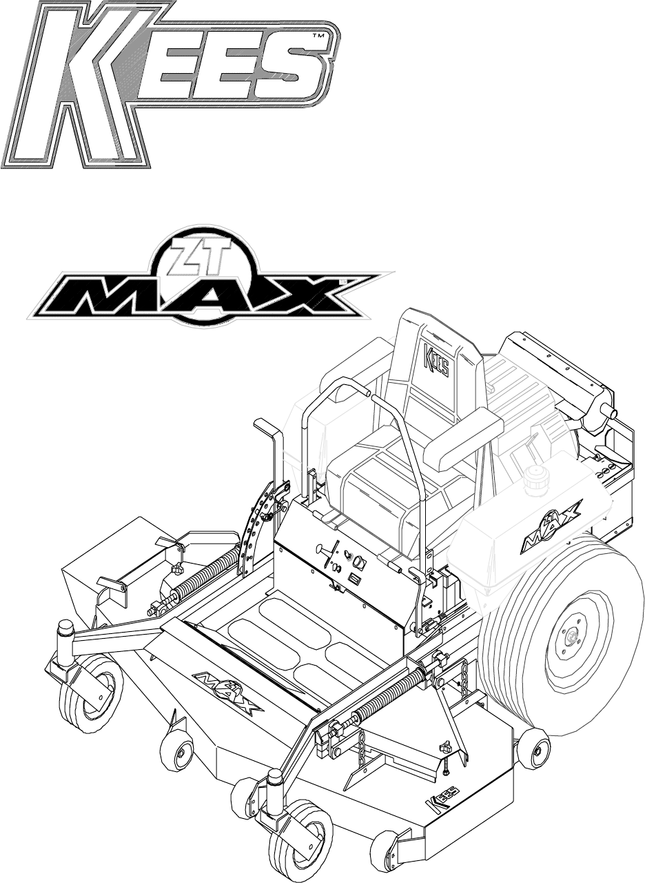 Yazoo Kees Zt Max Zkh52221 Users Manual OM, ZKH52221
