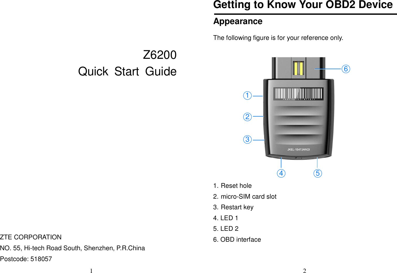 ZTE Z6200 LTE OBDII Hotspot User Manual