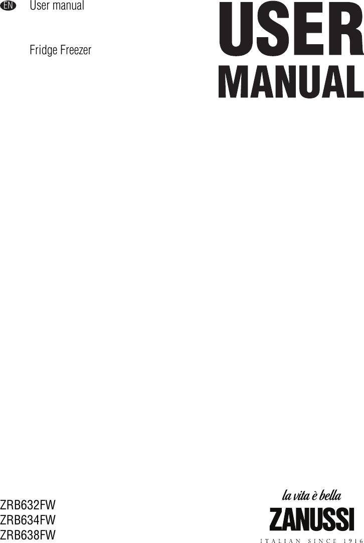 Zanussi Zrb632Fw Users Manual