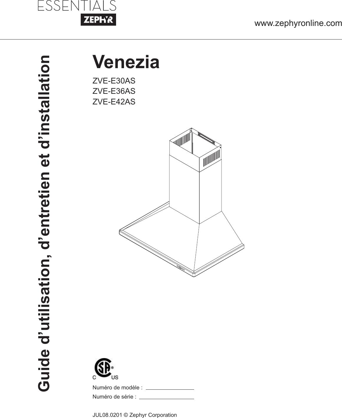 Zephyr Zve E30As Users Manual VENEZIA FR