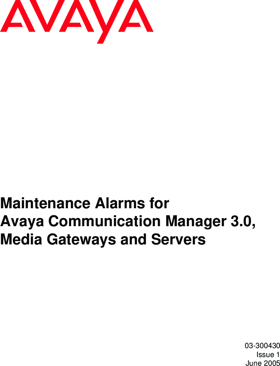 Avaya 03300430 Maintenance Alarms For Communication
