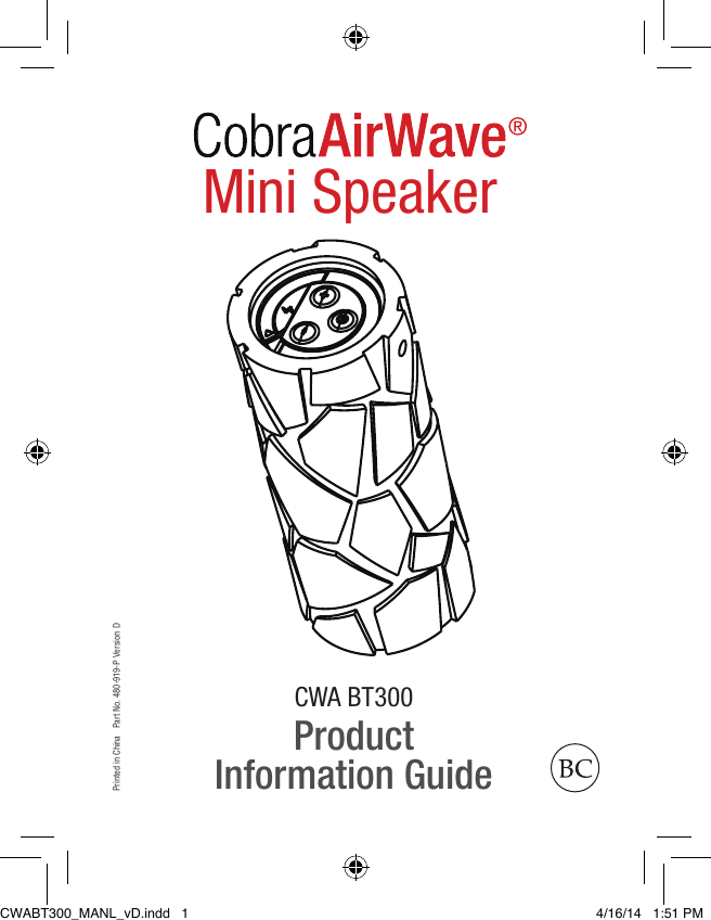 Cobra Air Wave Mini Product Information Guide CWABT300 EN