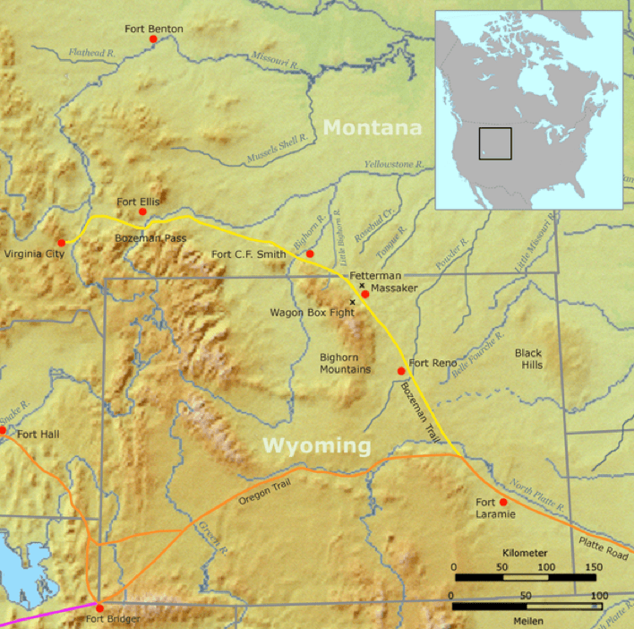 Map of the Bozeman Trail 1862