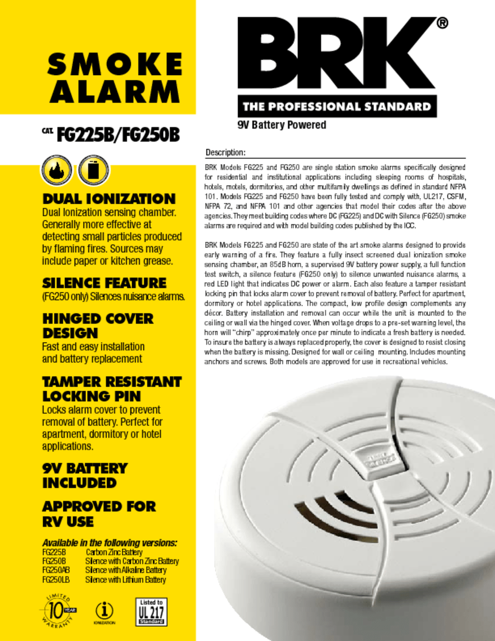 hight resolution of first alert sa9120bpcn 120v ac hardwired smoke alarm with adapter