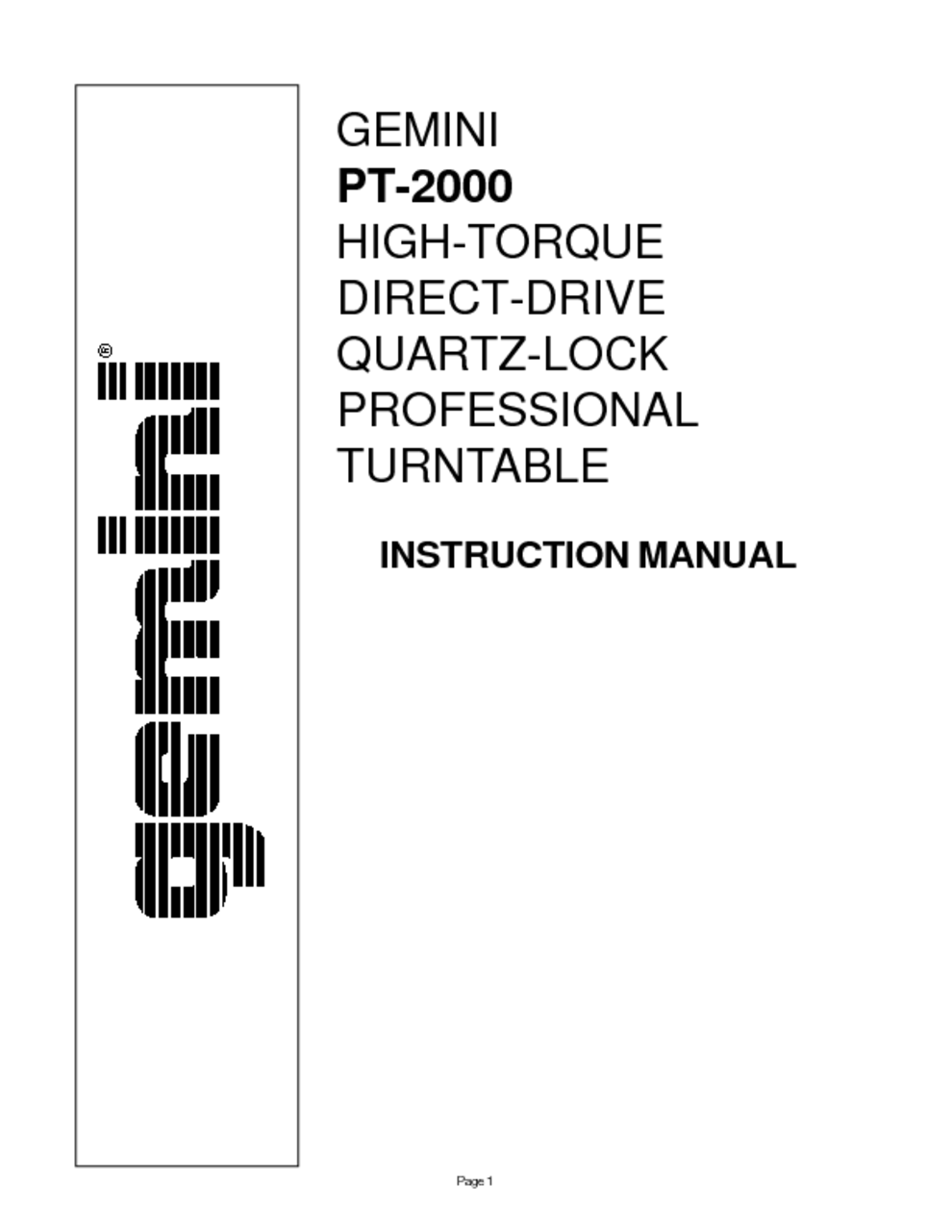 Innovative Technology Turntable Manuel Instruction