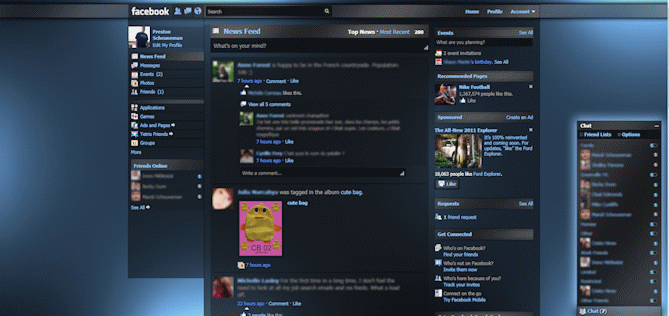 Facebook skin, apparence, theme