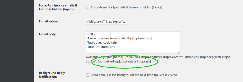 bbPress Notify (No Spam) Opt-Out Extra Shortcodes
