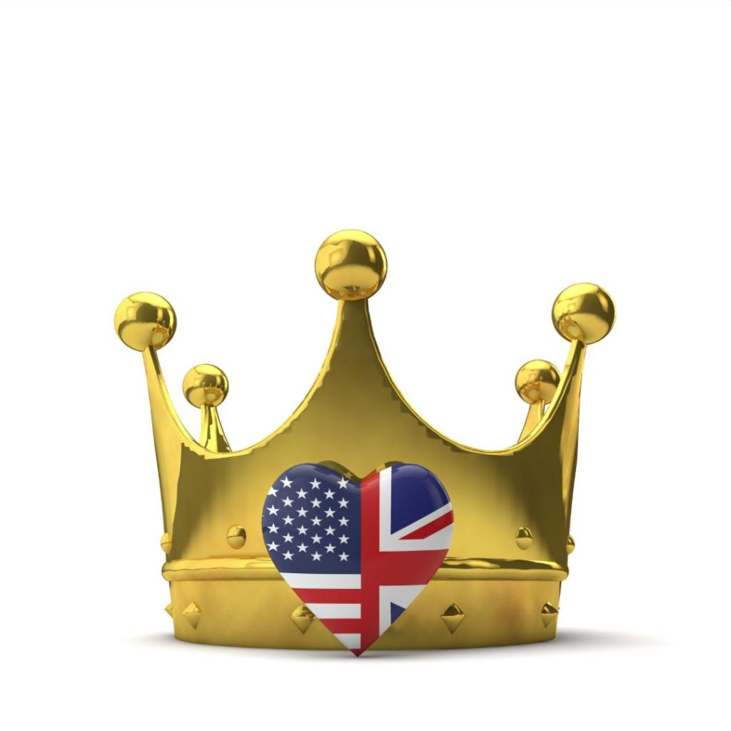 crown with american and UK flag patterns