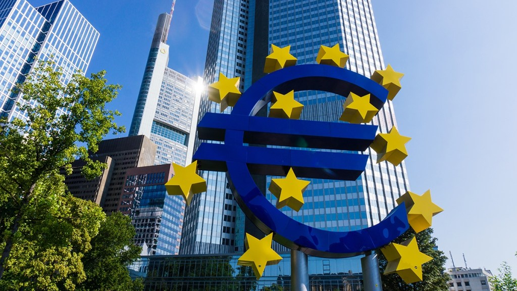 Panoramic shot of the European Central Bank and the Euro sign in front of it