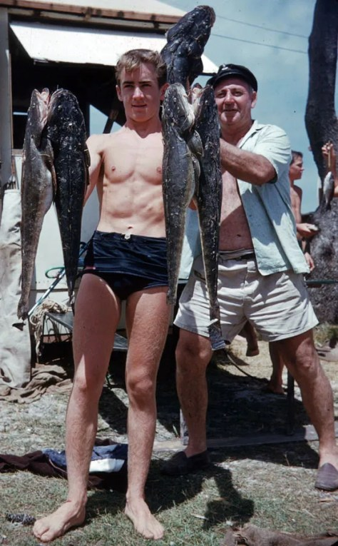 Australian Junior Spearfishing Champion Gary Hunter and Dick Charles Tallebudgera Qld 1958 - Image supplied by Ron Taylor