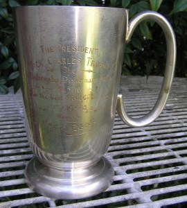 The President Dick Charles Trophy The Underwater Fishermans Assoc of NSW For the best fish of the day 17 Oct 1948 won by Jack Egan