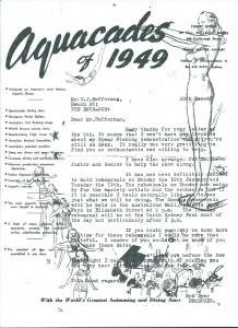 Aquacades 1949 letter with Bill Heffernan (left) & possibly George Sheen (right)