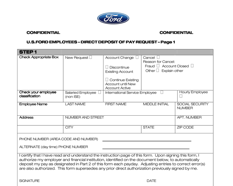 Ford us employees direct deposit of pay request