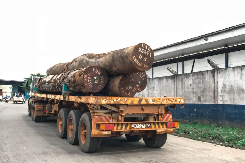 Transporting logs at the port in Douala, Cameroon