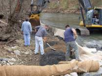 Restoring the stream banks after the dam removal. Credit: Eric Schrading/USFWS