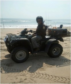 This is me all geared up to start the daily sea turtle patrol!