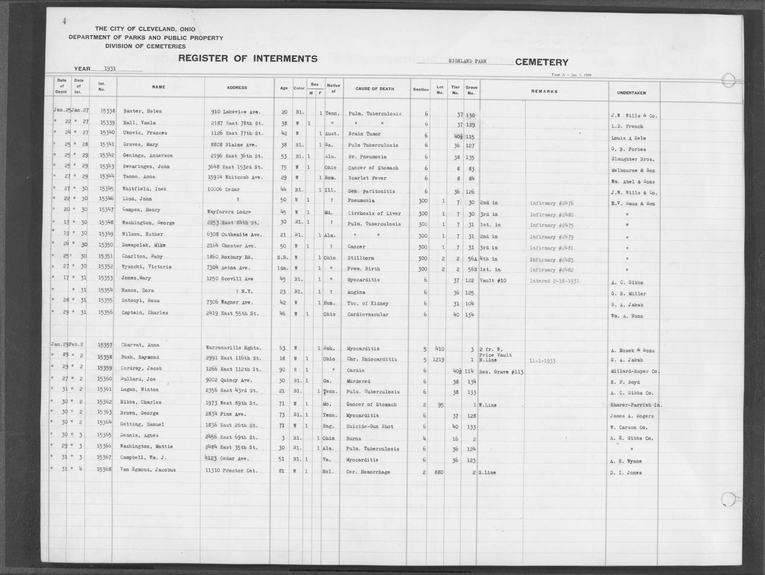 Cleveland City Cemeteries Index: Capk through Casg