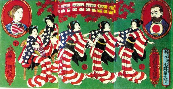 Japanese print of Ulysses and Julia Grant