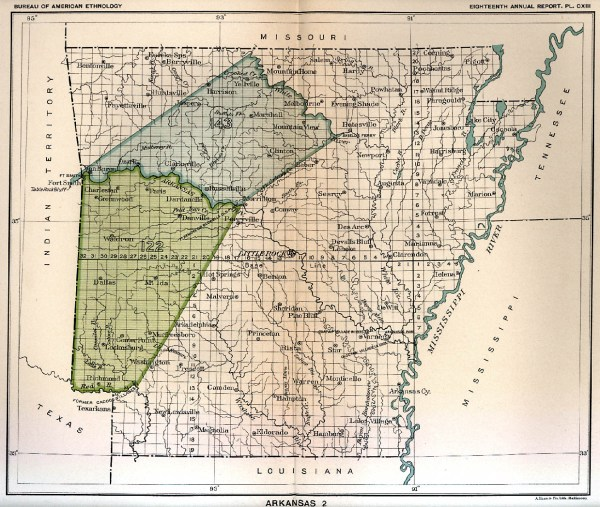 Indian Land Cessions in the U S Arkansas 2 Map 6