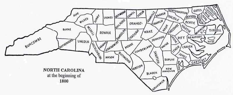 map of north carolina by county