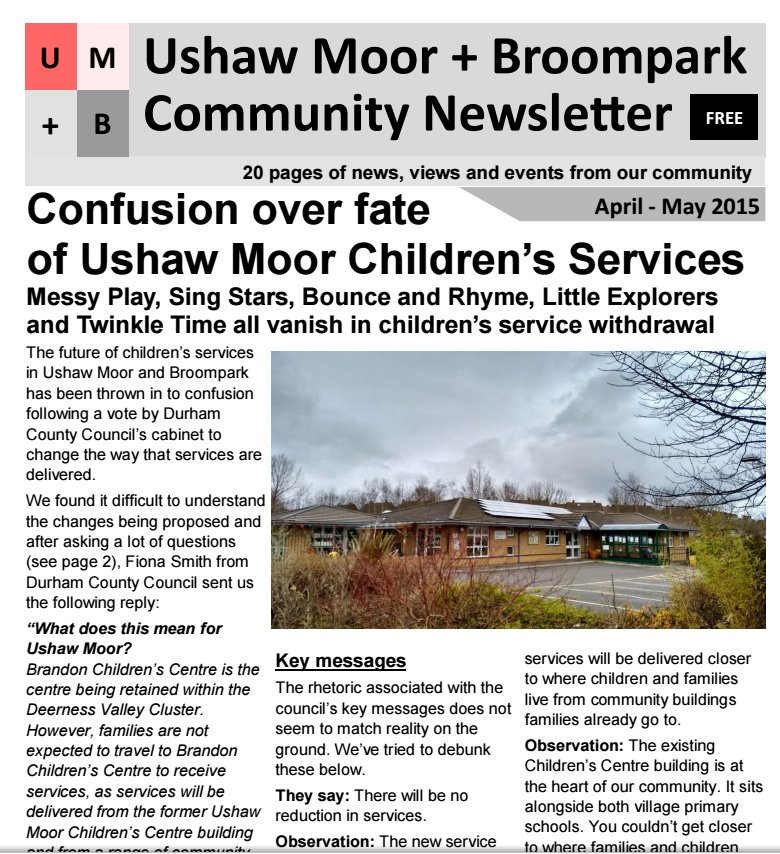 Ushaw Moor Community Newsletter / April- May 2015 (1/2)