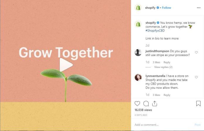 shopify instagram cbd announcement