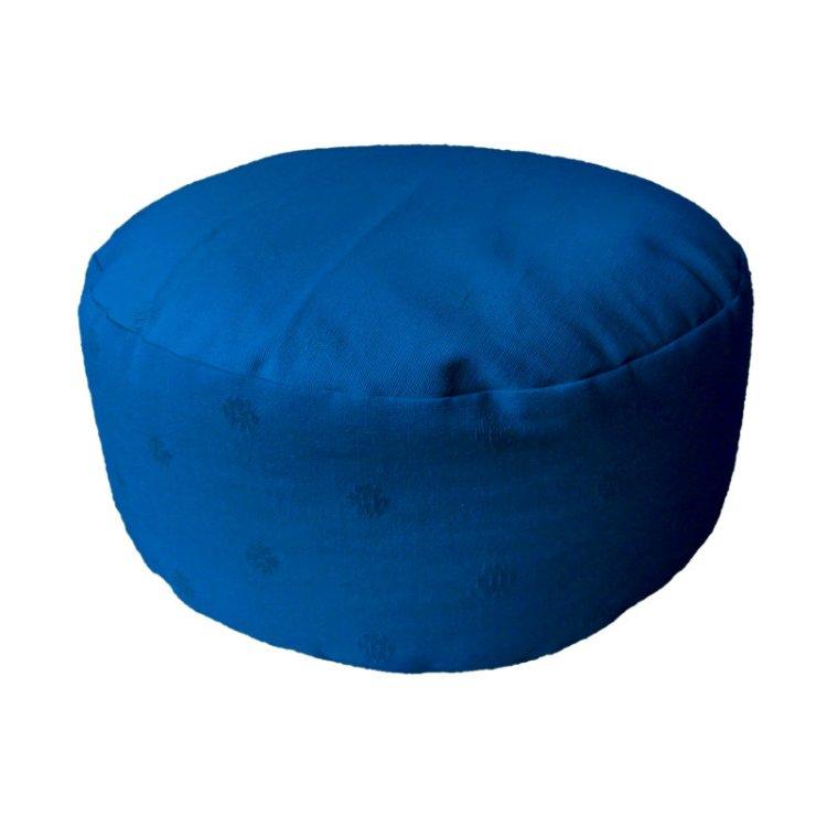 Rond meditatiekussen, blauw met ingeweven bloemmotief