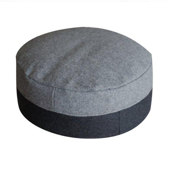 Meditatiekussen, grijs en zwart, wol