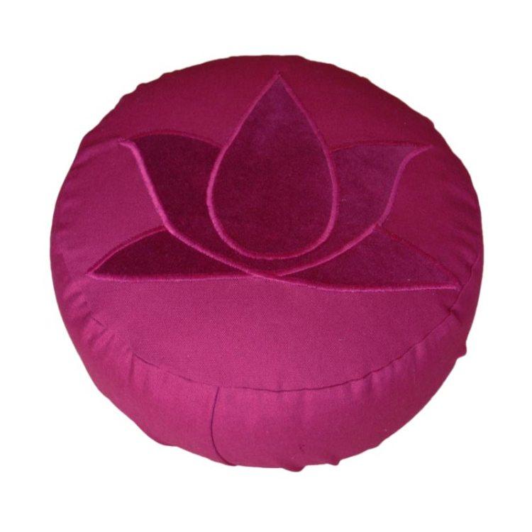 Meditatiekussen met lotus, bordeaux op bordeaux