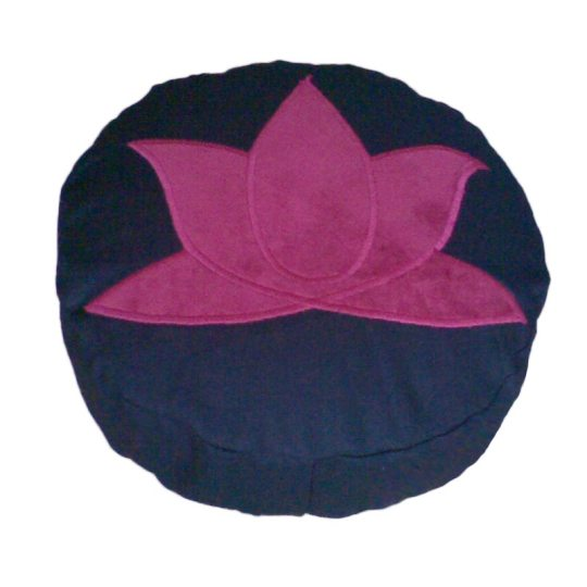 Meditatiekussen met lotus, bordeaux op zwart