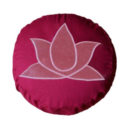 Meditatiekussen met lotus, donkerroze op bordeaux