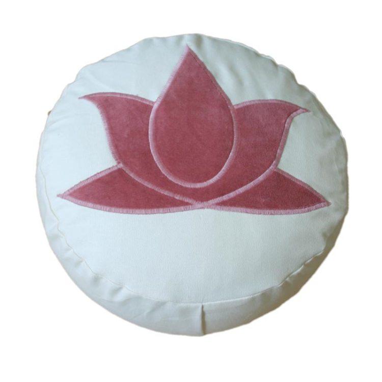 Meditatiekussen met lotus, donkerroze op écru