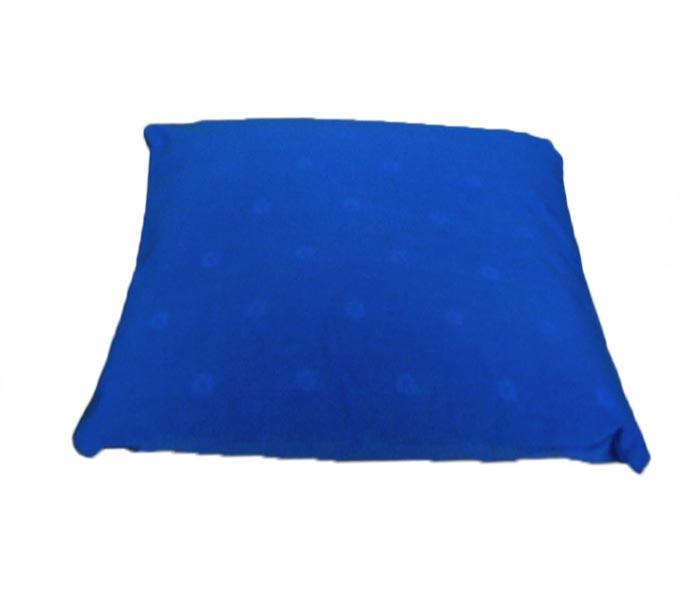 Rechthoekig meditatiekussen, blauw met ingeweven bloemmotief