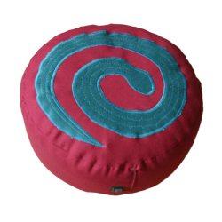 Meditatiekussen met slang, blauwgroen op bordeaux
