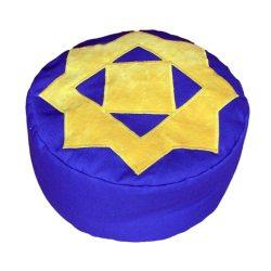 Meditatiekussen met achthoekige ster, zandgeel op kobaltblauw