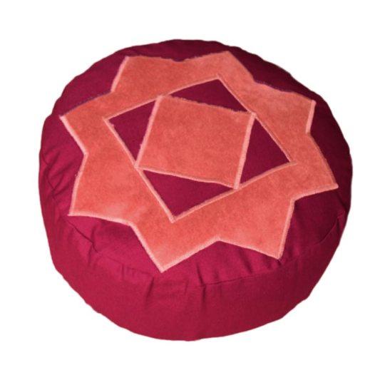 Meditatiekussen met achthoekige ster, donkerroze op bordeaux