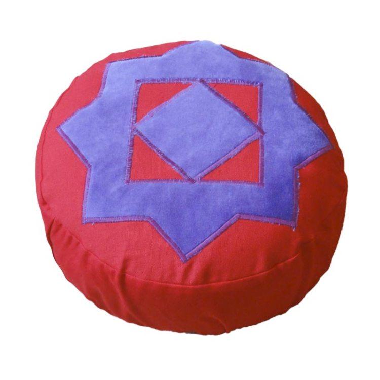 Meditatiekussen met achthoekige ster, paars op rood