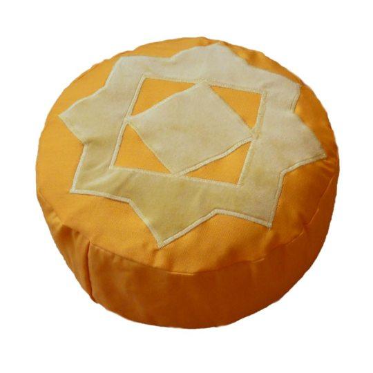 Meditatiekussen met achthoekige ster, zandgeel op oranjegeel