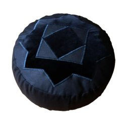 Meditatiekussen met achthoekige ster, zwart op zwart