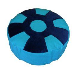 Meditatiekussen met wiel met middencirkel, blauw op helderblauw