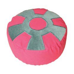 Meditatiekussen met wiel met middencirkel, blauwgroen op fuchsia