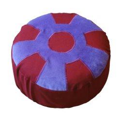Meditatiekussen met wiel met middencirkel, paars op bordeaux