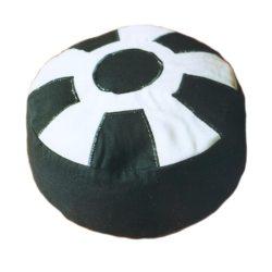 Meditatiekussen met wiel met middencirkel, wit op zwart