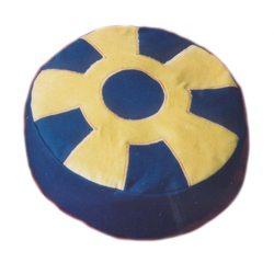 Meditatiekussen met wiel met middencirkel, zandgeel op donkerblauw