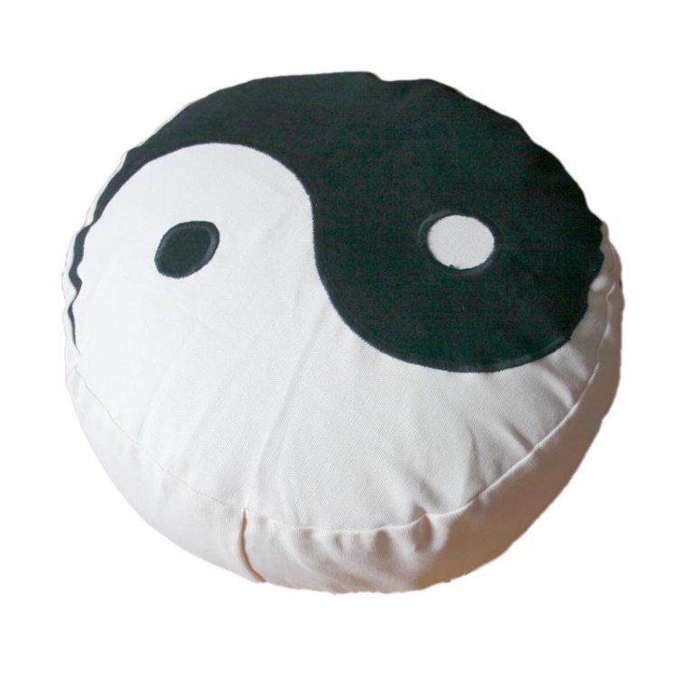 Meditatiekussen met yin yang teken, zwart op écru