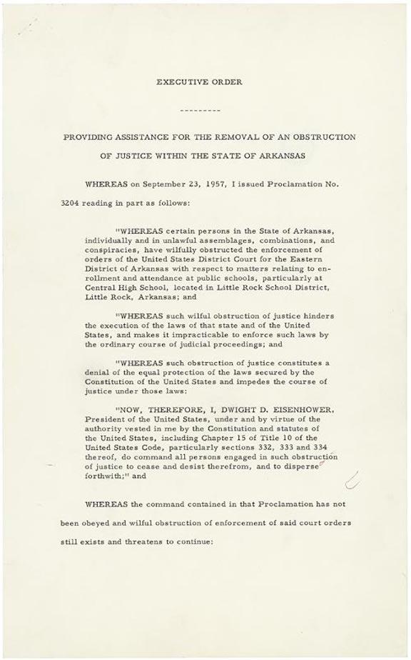 Executive Order 10730: Desegregation of Central High School (1957)