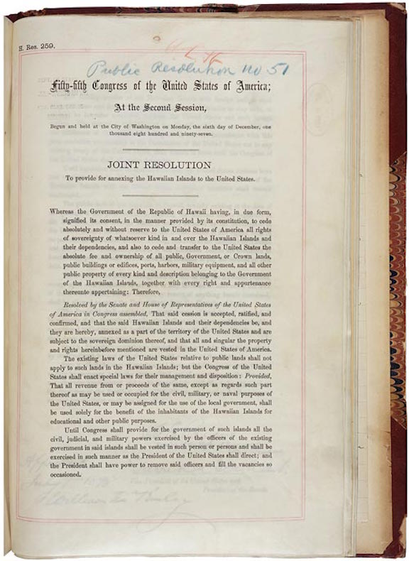 Joint Resolution to Provide for Annexing the Hawaiian Islands to the United States (1898)