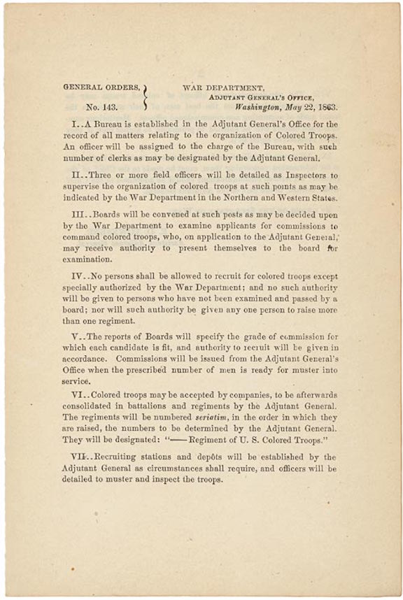 War Department General Order 143: Creation of the U.S. Colored Troops (1863)