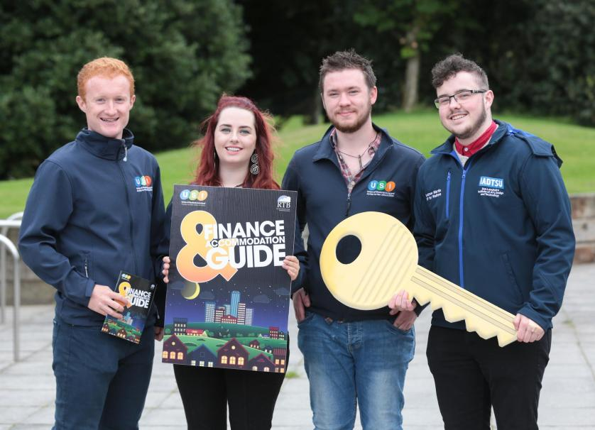 NO REPRO FEE. Maynooth University, 30/08/2016. Pictured here at the launch of the USI and RTB Finance and Accommodation Guide were Jack Leahy (left), Deputy President of USI, Annie Hoey, USI President, Cian Power, USI VP for Welfare and Andrew Martin, Students' Union IADT. The guide has a rent book and inventory checklist included, so students can record any damages or missing utensils at the start of the lease, and not be penalised unfairly on their deposit. The guide also provides information on finance and gives budgeting tips for students to financially manage the college year. Pic: Alan Rowlette ENDS Contact: Annie Hoey, USI President, 087-6776636 Dillon Grace, Maynooth Students' Union President, 01-7086436 Jack Leahy, USI Deputy President, 0861303101 For media requests email Fiona.omalley@usi.ie or call 0874495695 USI is the national representative body for the 354,000 students in third level education on theIsland of Ireland. We are a membership organisation – our members are our affiliated Students'Unions around Ireland, North and South.